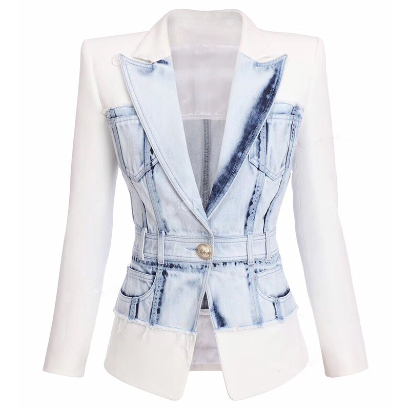 HIGH STREET 2020 Newest Stylish Designer Jacket Women's Slim Fitting Lion Button Denim Patchwork Blazer