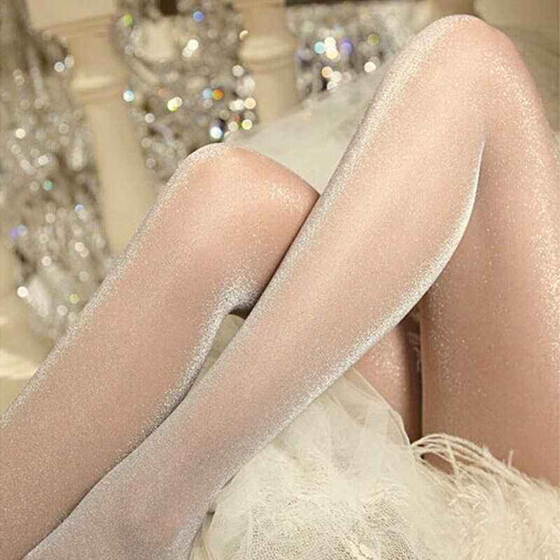 Damski seksowny błyszczący rajstopy przędza seksowna satyna pończochy Fitness Sexy legginsy bielizna
