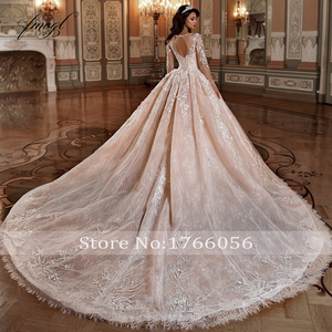 Image 2 - Fmogl Luxury Long Sleeve Flowers Lace Ball Gown Wedding Dresses 2020 Elegant Appliques Beaded Chapel Train Vintage Bridal Gowns