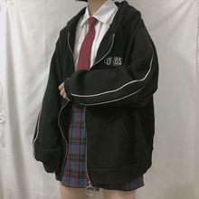 Streetwear harajuku oversized moletom feminino impressão carta zip up hoodies estudante plus size outwear feminino solto topos