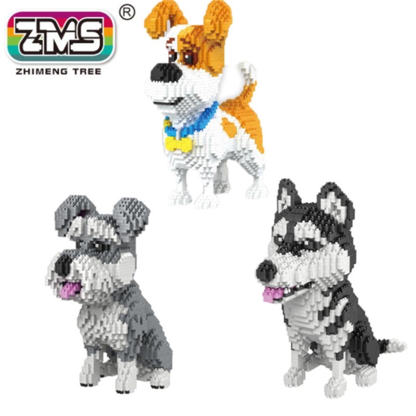 3 Models Dog Brick Mirco Building Blocks Creative Assemble Children's Building Blocks Mike Dog Husky Schnauzer Dog Bricks