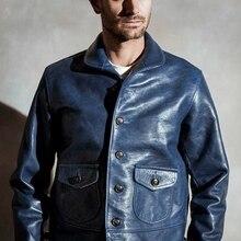 Free shipping,Brand new Genuine leather jacket.mens Indigo vintage style Cossack