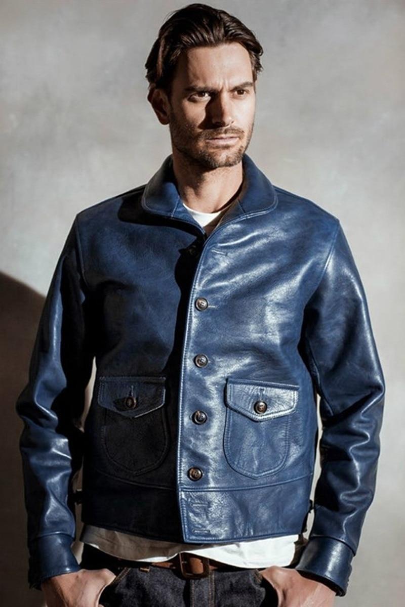 Free Shipping,Brand New Genuine Leather Jacket.mens Indigo Vintage Style Cossack Jacket,classic 1920 Batik Cowhide Coat,sales
