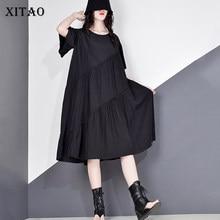 XITAO Patchwork drapé tenue décontractée femmes 2020 été marée mode nouveau Style O cou col papillon manches pull ZLL5271
