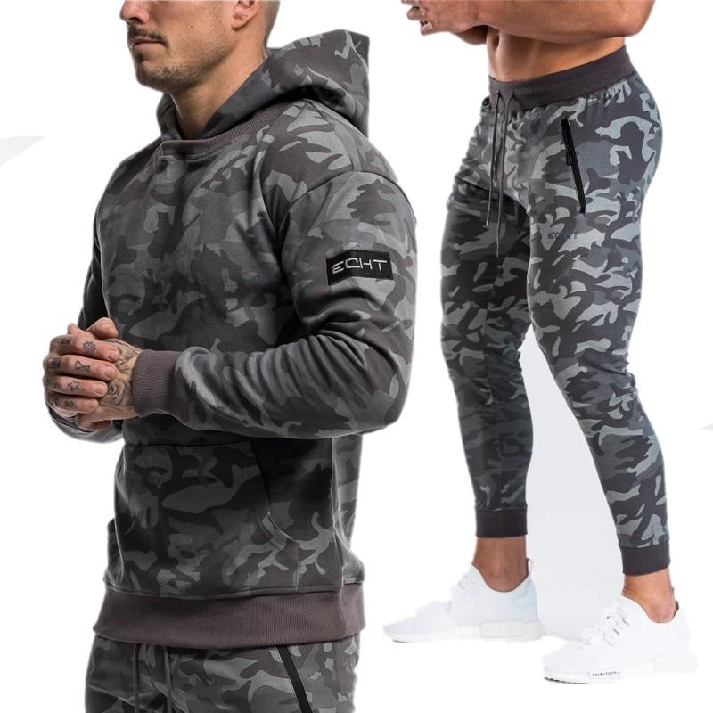 Sportsuits Set Men 2019 Brand Fitness Suits Autumn Men Set Long Sleeve Camouflage Hoodies+Pants Gyms Casual Sportswear Suit
