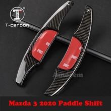 Volante paddle shift para mazda 3 mazda3 2020 fibra de carbono shifter paddles extensão do carro adesivo