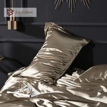 Liv Esthete Luxury 100 Satin Silk Dark Gold Pillowcase Wholesale Solid Color Silky Healthy Standard Pillow