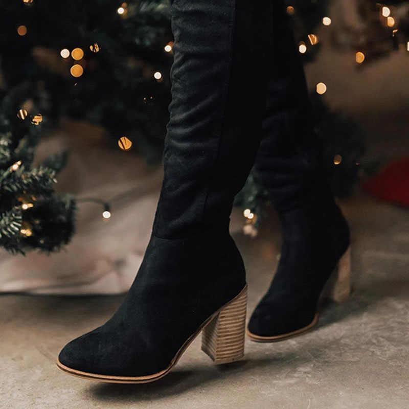 Puimentiua ผู้หญิงเข่าสูงรองเท้าบูทลูกไม้ปักเซ็กซี่รองเท้าส้นสูงรองเท้าผู้หญิง Lace Up Winter BOOTS WARM ขนาด 35 -43 2019 รองเท้าแฟชั่น