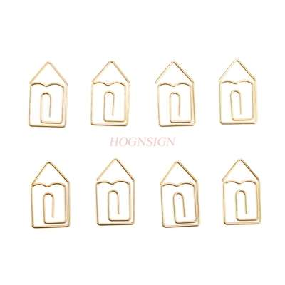 12pcs Golden Small House Paper Clip Cartoon Creative Shape Pin Invisible Clip Golden Big Pin Baby Pin