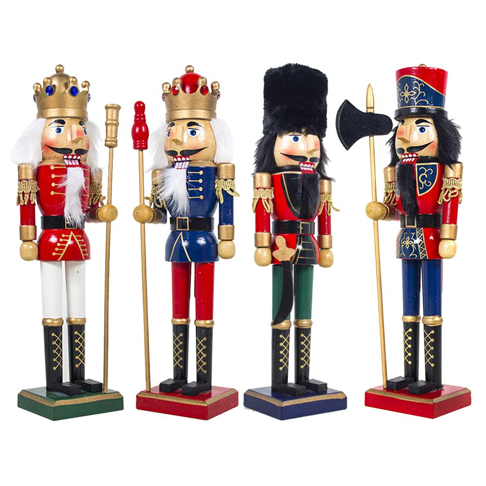 1Pcs 36cm Christmas Decoration Wood Made Nutcracker Puppet Nutcracker Wearing Red Golden Black Uniform Desktop Ornaments(China)