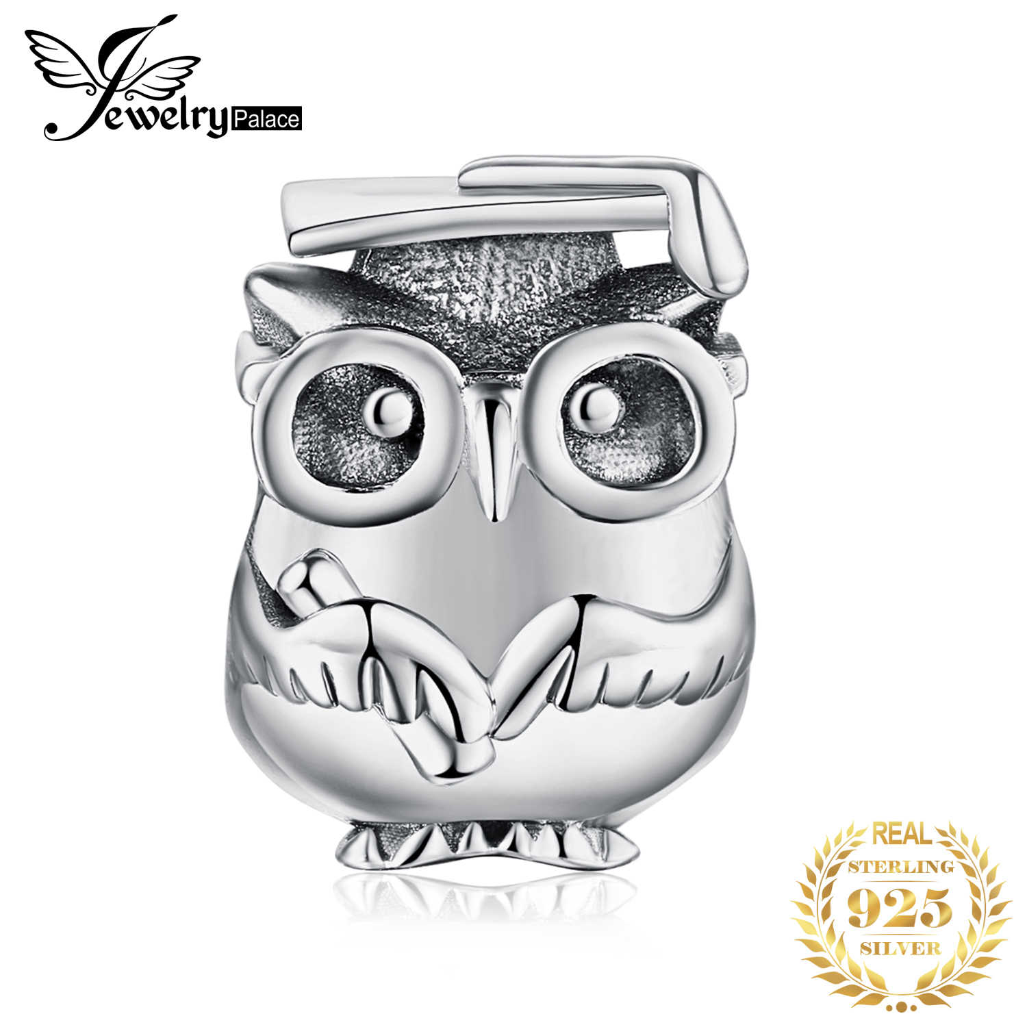 JewelryPalace 925 Sterling Silver Wise Owl Beads Charms Silver 925 Original Fit Bracelet Silver 925 original For Jewelry Making