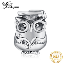 JewelryPalace 925 Sterling Silver Wise Owl Beads Charms Original Fit Bracelet original For Jewelry Making