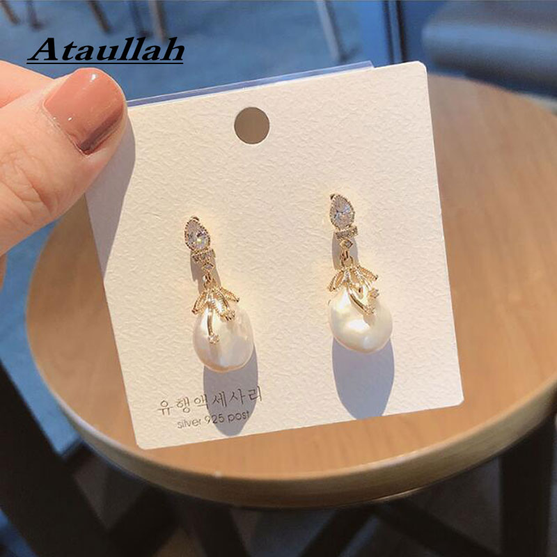 Ataullah Baroque Pearl Earrings for Women White Natural Freshwater Drop Earring Jewelry Wedding Party Girl Gift EW033