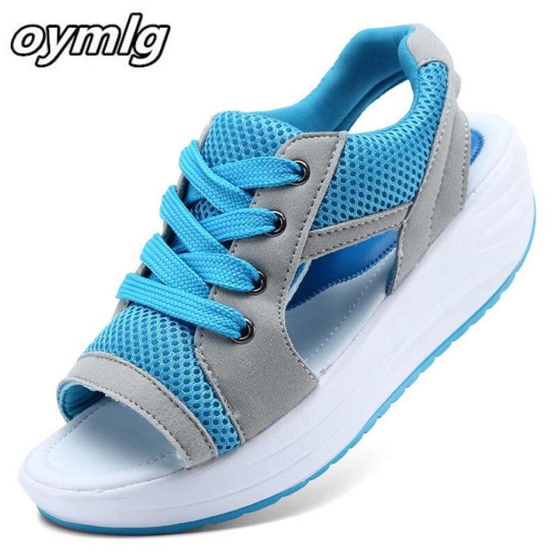 Summer Women Shoes Flat Platform Wedges Sandals Breathable Fashion Casual Shoes Woman Ladies Tennis Open Toe Hot Sandalias S074
