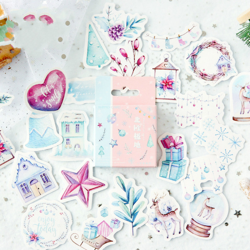 Mohamm Cute Journal Mini Small Paper Diary Stationary Christmas Nordic Snow Stickers Scrapbooking Flakes
