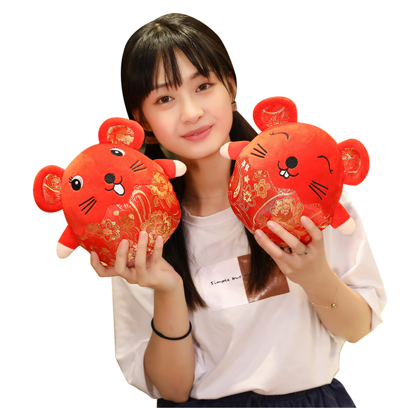2020 Year Mouse Year Kawaii China Lucky Fat Rat Plush Mouse In Tang Suit Soft Toys Chinese New Year Party Decoration Gift 20cm
