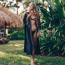 Fitshinling Vintage hafty Kimono plażowe zatuszować stroje kąpielowe wakacje boczne rozcięcie czarny długi sweter Sexy Slim Bikini wycieczka nowy