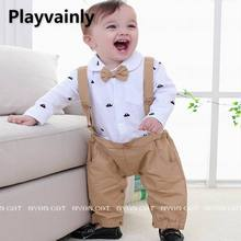 Wholesale Baby Boy Romper 2021 New Bow Tie Boat Design braces Long Sleeve Cotton Romper Toddler Clothing E12334
