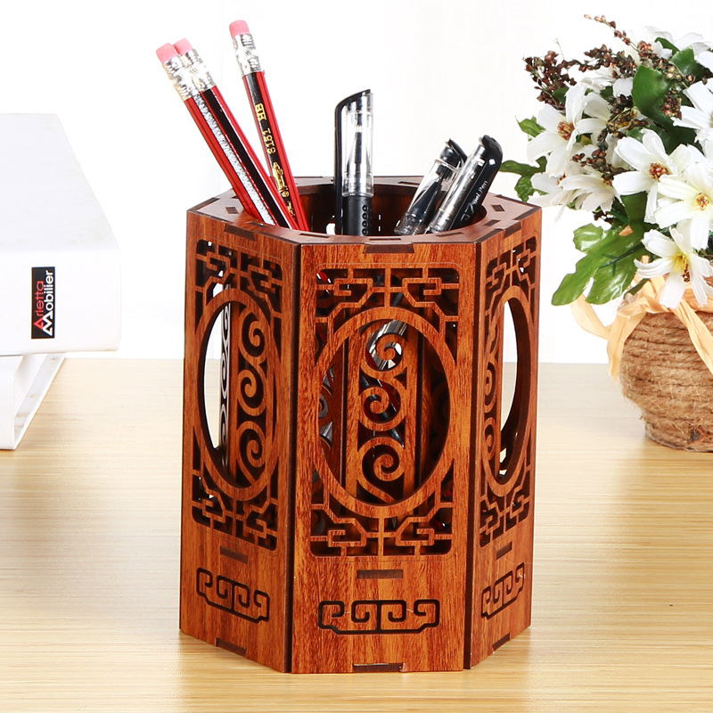 Wood Pen Container Creative Carving Pen Container Seat Business Gifts Desktop Chinese Style Vintage Office Pen Container Decorat