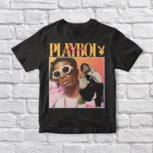 Camiseta preta unissex do vintage de playboi carti 90