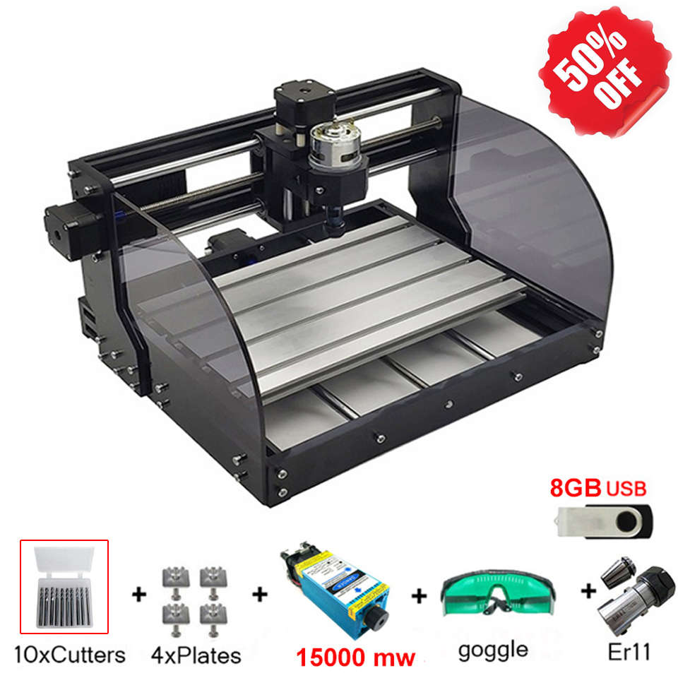 <font><b>CNC</b></font> <font><b>3018PRO</b></font> Laser Engraver 15W Wood <font><b>CNC</b></font> Router Machine GRBL ER11 DIY Engraving Machine for Wood PCB PVC Mini CNC3018 Engraver image