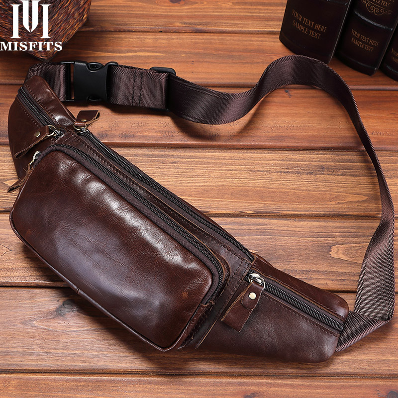 MISFITS Genuine Leather Waist Bag Men Travel Waist Pack Hip Belt Bag Phone Pouch Bag Casual Chest Messenger Bag Male Fanny Pack