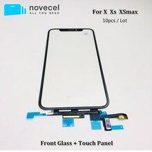 Сенсорная панель с цифровым преобразователем для iPhone X XS XSmax XR, переднее стекло, сенсорный экран, запасные части, 10 шт.