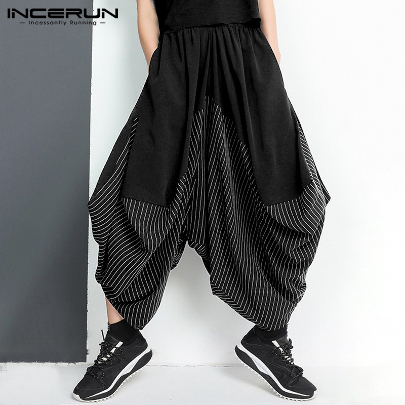 INCERUN Mens Elastic Waist Patchwork Cropped Pants Man Dark Black Stripes Harem Trousers Stylish Loose Baggy Bottoms For Male