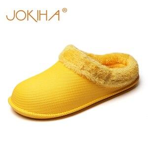 Image 2 - 2019 חורף פרווה מקורה נעלי בית לנשים גברים צבעים בוהקים כפכפים רצפת בית נעלי בית אישה עמיד למים כפכפים Hommer נעלי בנות