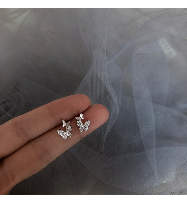 OBEAR New Fashion Shiny Zircon Butterfly Stud Earrings Simple Temperament Personality Small Women's Earrings
