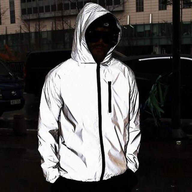 High Street Full Reflective Jacket Men Women Harajuku Windbreaker Jackets Hooded Hip-hop Streetwear Night Shiny Zipper Coats