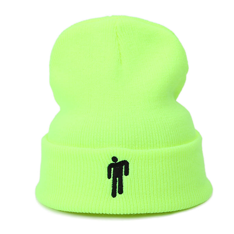 Dropshipping Billie Eilish Cotton Casual Beanies For Men Women Knitted Winter Hat Solid Hip-hop Skullies Bonnet Unisex Cap