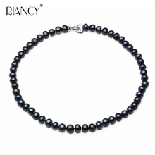 Fashion black Natural Freshwater Pearl Necklace 8-9mm/9-10mm jewelry 40cm/45cm/50cm Length For Women
