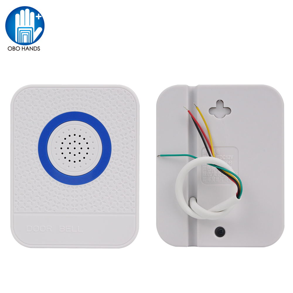 4 Wires Wired Door Bell White DC12V Doorbell Electronic Ding Dong Ring Ringtone Sound For Home Entry Access Control System