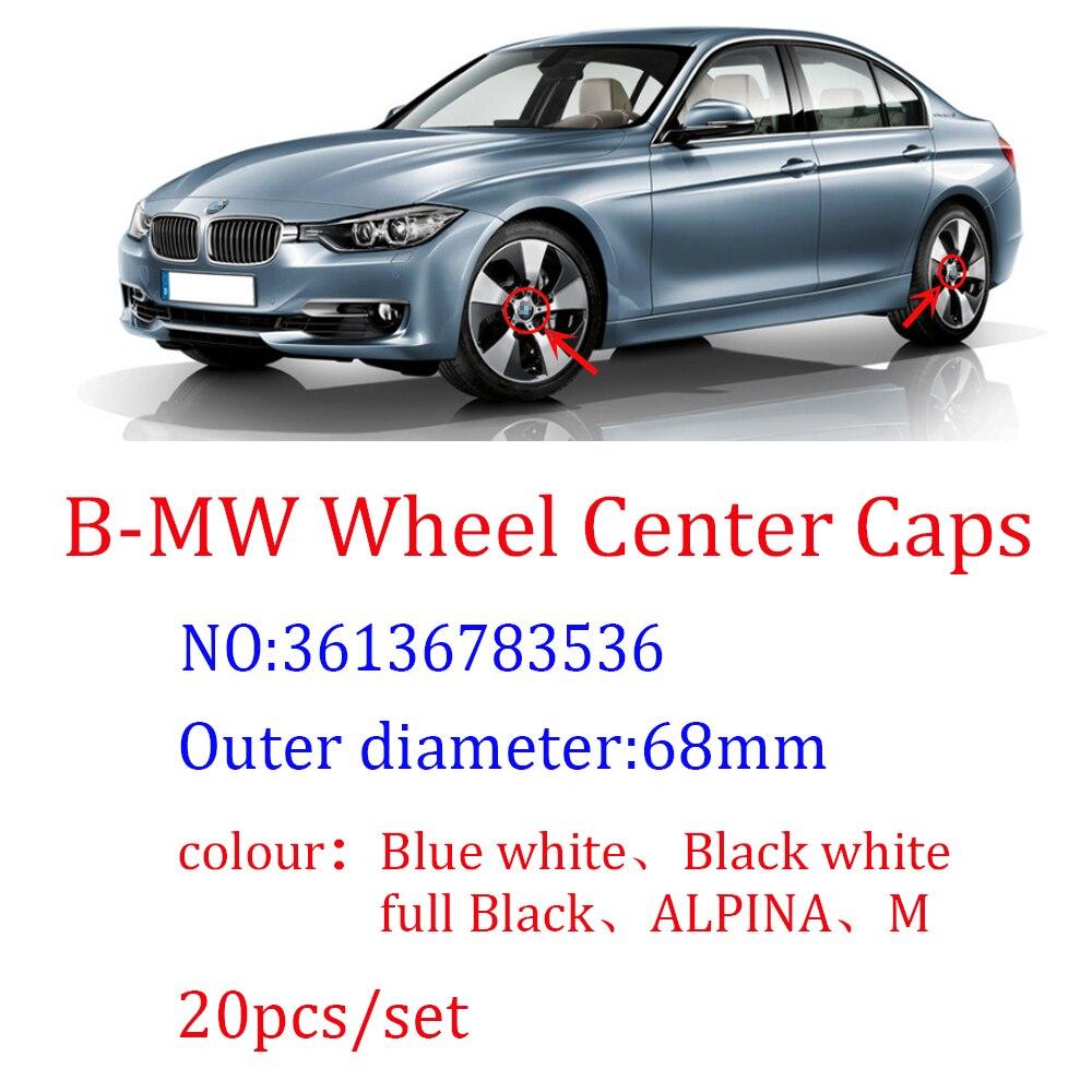 20 штук 68 мм синий white10 pin Центральная втулка колеса автомобиля Шапки крышки обода Шапки Чехлы эмблемы для 1, 3, 5, 7, X3 X5 M3 M5 36136783536