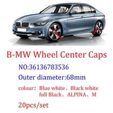 20 pçs 68mm azul white10 pino centro da roda do carro hub tampas aro tampas emblema cobre para 1 3 5 7 x3 x5 m3 m5 36136783536
