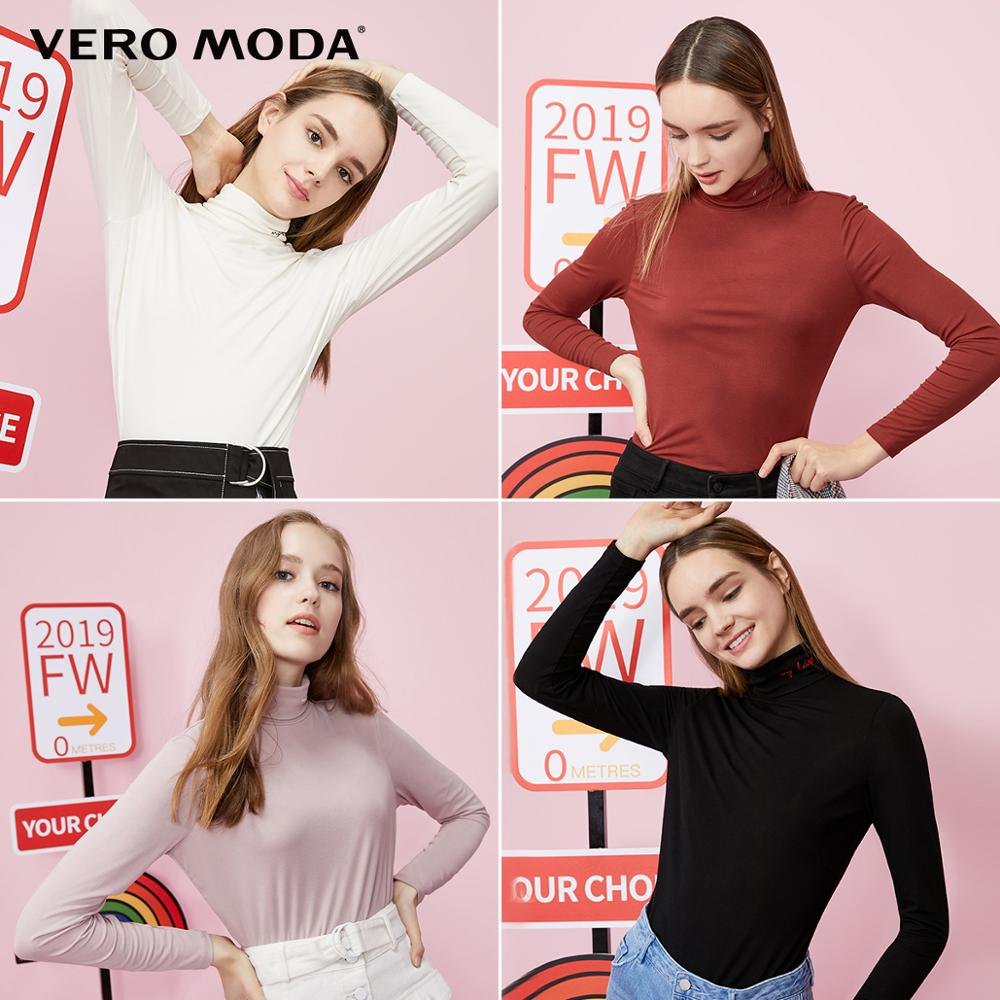 Vero Moda Women's High-necked Long-sleeved Stretch Base T-shirt Top | 319302506