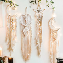 Wall-Hanging Macrame Tapestry Boho-Decor Farmhouse Dorm Star Moon And Gift