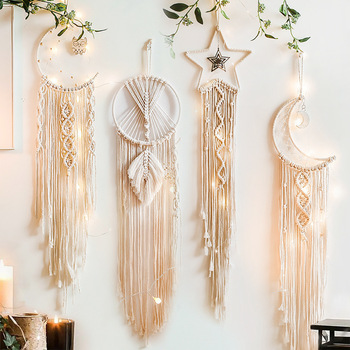 Moon And Star Macrame Tapestry Wall Boho Decor Leaf Macrame Wall Hanging Room Decoration Farmhouse Dorm Room Decor Gift large macrame tapestry macrame wall hanging farmhouse decor makramee room decoration tapestry wall gift for women