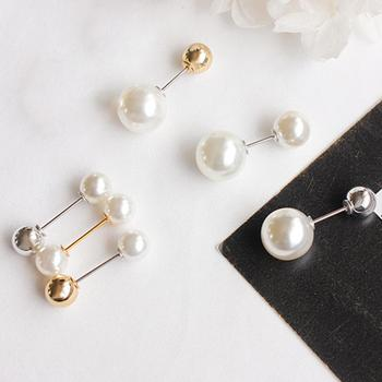 Women Fashion Double Faux Pearls Brooch Safty Pin Cardigan Shawl Clip Badge Gift image