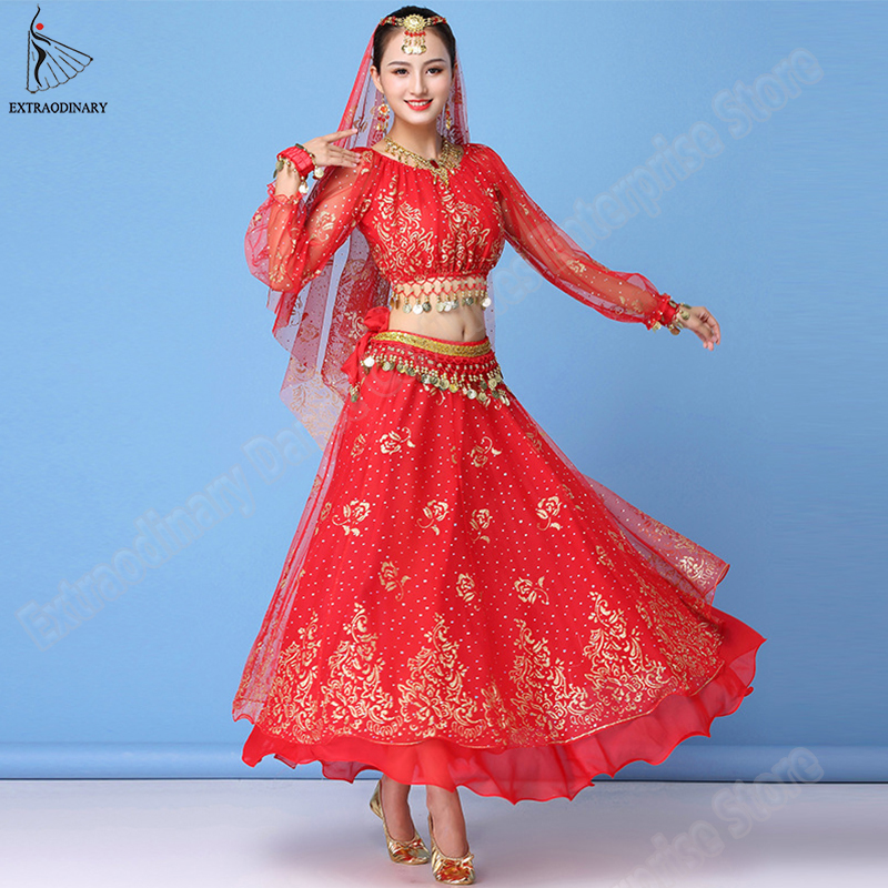 Bollywood Dress Costume Women Set Indian Dance Sari Belly Dance Outfit Performance Clothes Chiffon Top+Belt+Skirt