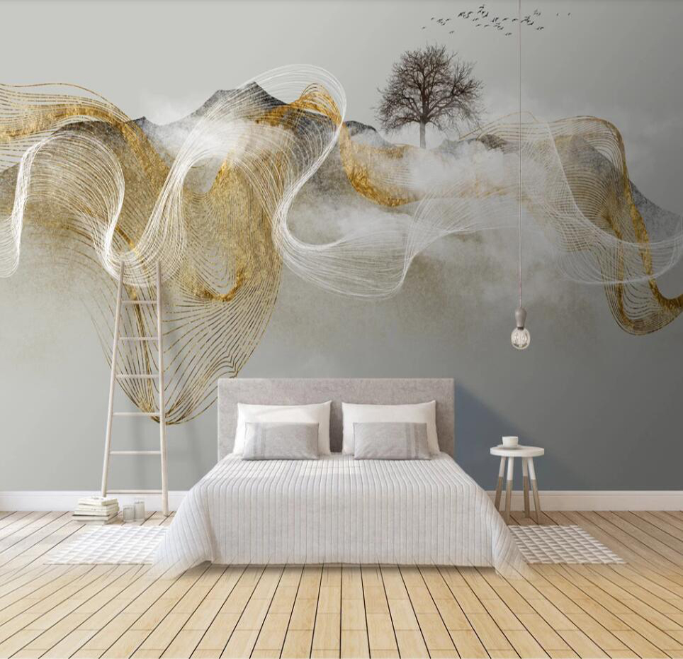 Custom Mural Wallpaper 3D Modern Zen Light Luxury Abstract Ink Landscape Background Wall Painting Decorative Painting