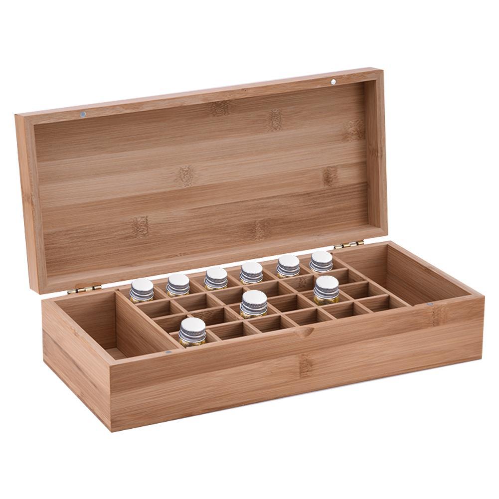 Boîte d'huile essentielle de bambou haut de gamme avec 26 grilles bricolage mallette de rangement en bois de protection pour ornement artistique cadeau décoratif