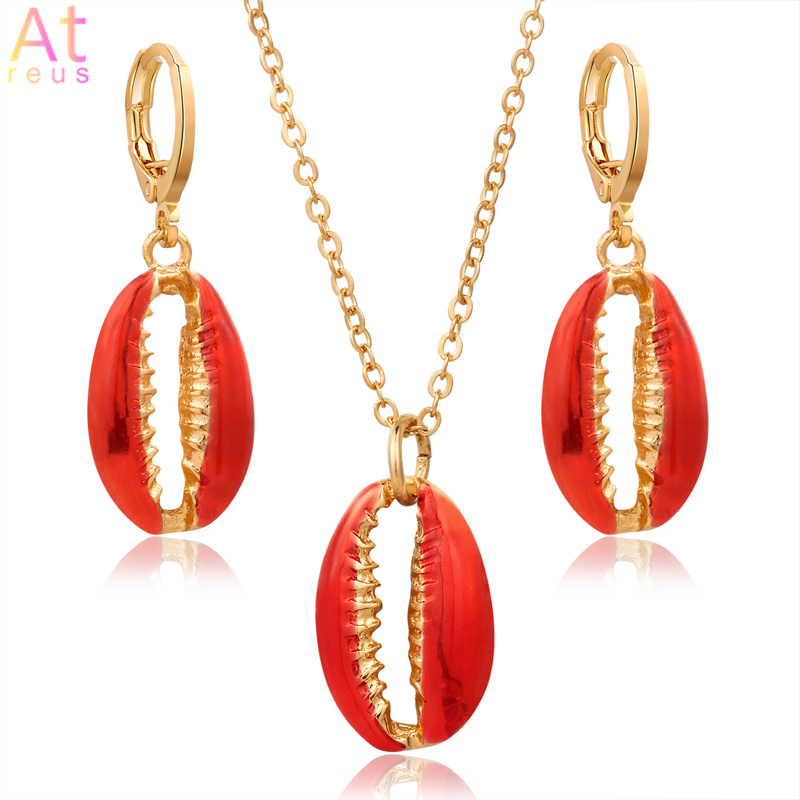 Orange Red Lucite Shell Jewelry Set Women Boho Fashion Gold Link Chain Metal Shell Pendant Necklace Conch Hoop Drop Earrings