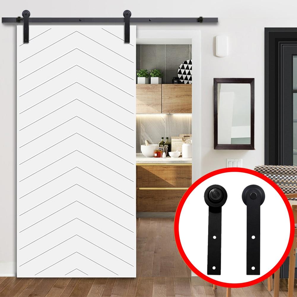 Rodillo para colgar puertas barra deslizante de acero con ra/íl antiguo color negro para puerta corredera de madera de granero
