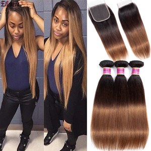 Ombre Bundles With Closure 1B/4/30 Straight Colored Honey Blonde Bundles And Clousre Brazilian Human Hair Bundles with closure(China)