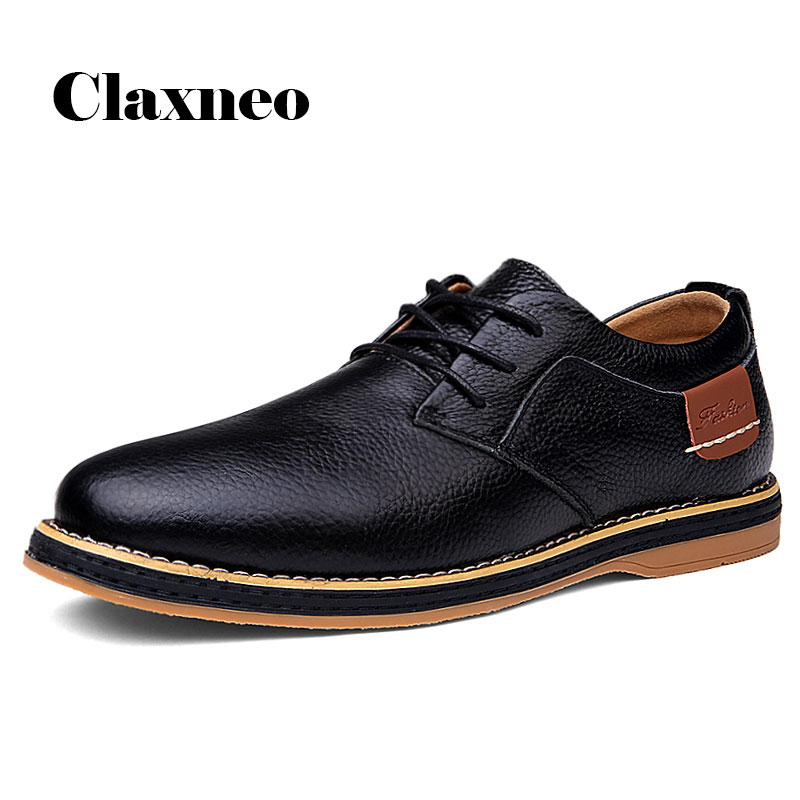 CLAXNEO Man Shoes Leather Footwear Spring Autumn Male Oxfords Walking Shoe Clax Men's Derby Shoe Big Size