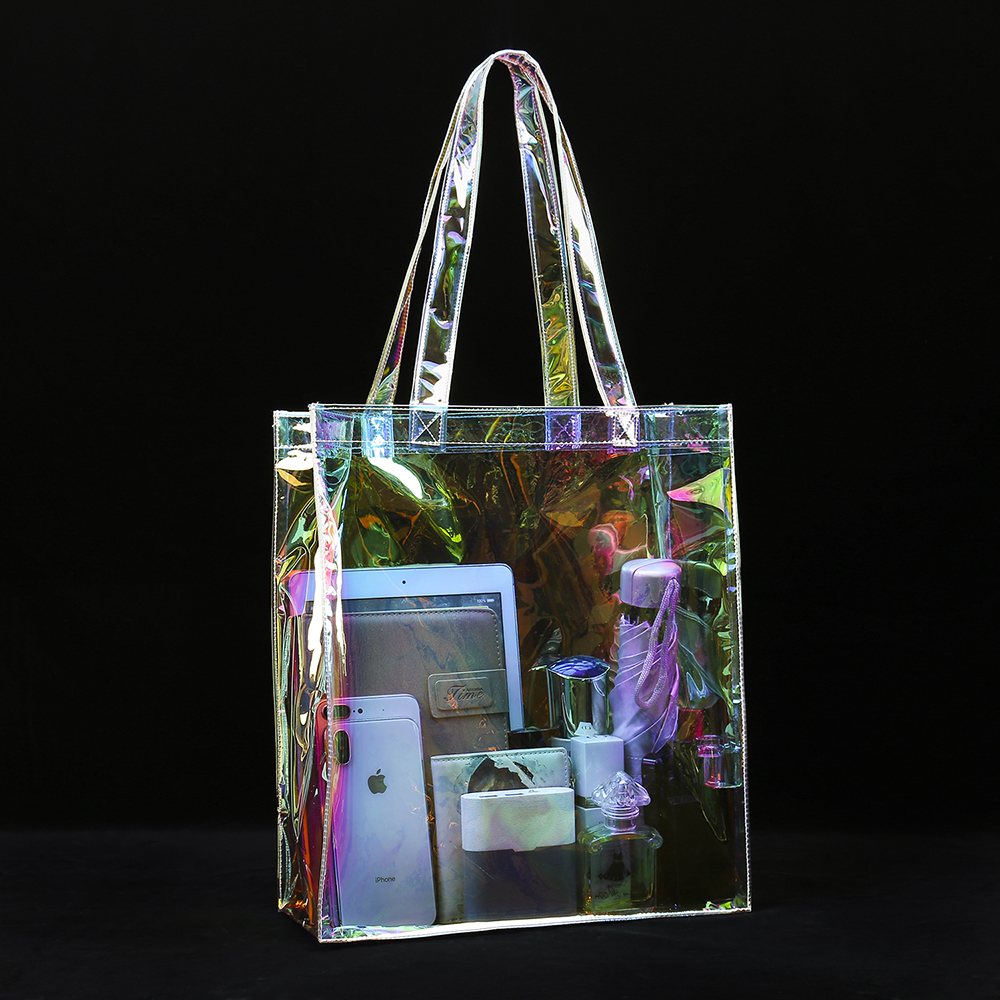 Clear Holographic PVC Tote Bag Iridescent Premium Glitter Rainbow Beach Bag Promotional Shopping Bag