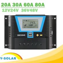 PWM פנל סולארי רגולטור 20A 30A 60A 80A שמש מערכת תאורה אחורית LCD Bulking מטען של 24h אור שליטה כפולה 5A USB