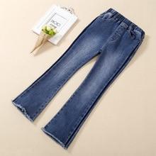 Jeans for Girls 2019 New Striped Kids Leggings for Children Girls Boot Cut Pants Solid Girls Enfant Denim Pants Kids Trousers